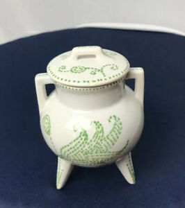 Hand-Painted-Porcelain-Mini-3-Leg-Pot-w-Lid-Made-In-Portugal-88