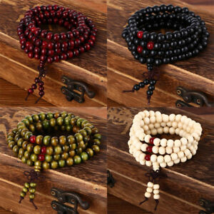 Sandalwood-108-6MM-Buddhist-Prayer-Bead-Mala-Wood-Necklace-Bracelet-Strand-Wrist