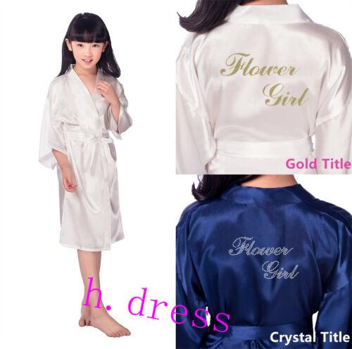 Flower Girl Kids Silk Satin Robe Kimono Dress Vintage Wedding Party Sleepwear
