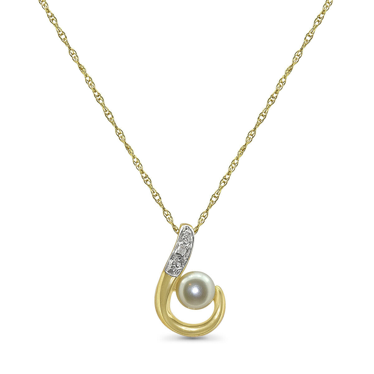 dcf149ac341cd Pearl gold Yellow 9ct And Chain 17 With Pendant Diamond ...
