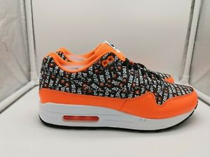 Détails sur Nike Air Max 1 Premium UK 6.5 Black Total Orange Blanc