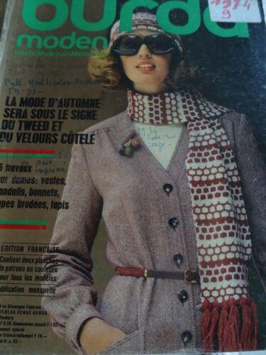 RARE MAGAZINE BURDA MODEN VINTAGE MODE AUTOMNE TWEED ET VELOURS CÔTELE  1974