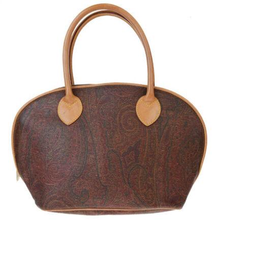 Auth Etro ペイズリー PVC,Leather Handbag Bordeaux 08GB1