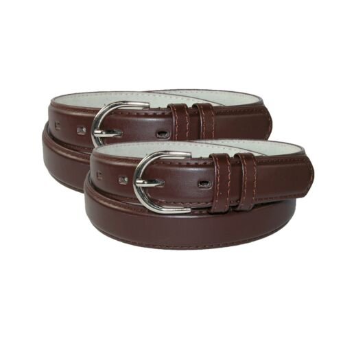 New CTM Women/'s Leather 1 1//8 Inch Dress Belt Pack of 2