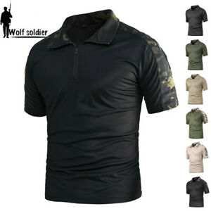 Mens-Tactical-Combat-T-Shirt-Short-Sleeve-Army-Military-Casual-Shirt-Camouflage