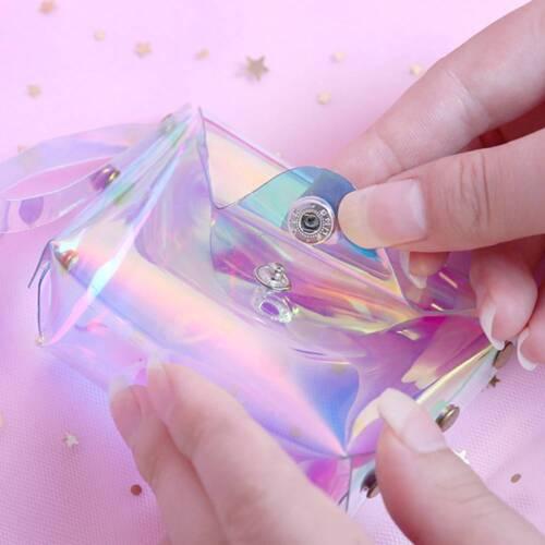 Les Femmes Holographique transparent porte-monnaie Jelly Girl/'s Laser Sweet Mini Portefeuille