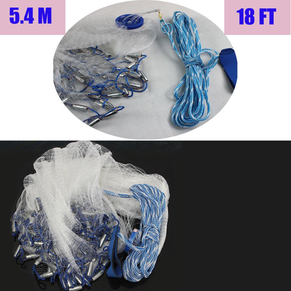 18ft 5,4M Wurfnetz Fischernetz Fisch Gussnetz Abfischen Multifilament mit Sinker