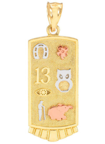 Tri-Tone Gold Lucky Owl Elephant Horseshoe Flower 13 Evil Eye Clover Necklace