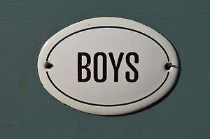 SMALL OVAL ENAMEL METAL BOYS DOOR SIGN PLAQUE DOOR SIGN ENAMELED TOILET SIGN