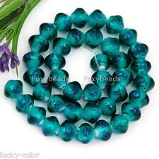"8x10mm Cyan Flower Inlaid Lampwork Glass Loose Beads 12"" Fit Jewellery Craft Diy"