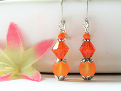 SEA GLASS Frosted Round Orange SILVER Dangle Leverback Earrings USA HANDMADE 2