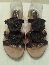 BOC Born Women's Sandals Slides  Black Leather Size 9/40.5 Flowers