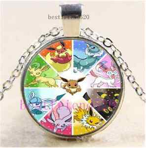 Pokemon eevee evolution cabochon glass tibet silver chain - Evolution pokemon argent ...
