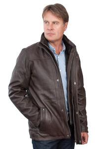 Cuir Mi Marron Classique Long Homme Veste 100 Chaude Ebay xA4604wnq