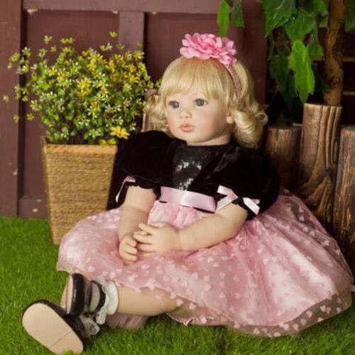 "Lifelike Toddler Girl Doll Handmade Vinyl Silicone Reborn Baby Dolls 22/"""