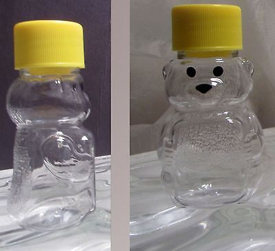 6 Clear Plastic Container 2oz Teddy Bear Honey Bear with seal Bee Keeping Pet
