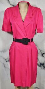 FLORA KUNG Pink Silk Blend Vintage Shirt Dress 12 Black Belt Short Sleeves Lined