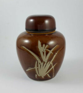 Vintage-Brown-Pottery-Ginger-Pot-Jar-Sgraffito-Bamboo-Design