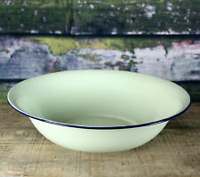 """Green w/ Cobalt Blue Rim Vintage EnamelWare Basin or Large Fruit Bowl 13"""""""