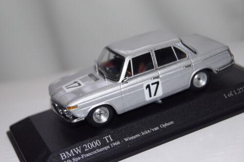 Bmw 2000 ti winner 24h spa 1966 icks//Ophem 1:43 Minichamps nuevo /& OVP 400662517