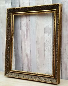 """Antique Oval Gilt Gold Soild Wood Mirror Picture Frame Ornate Embossed 15x12/"""""""