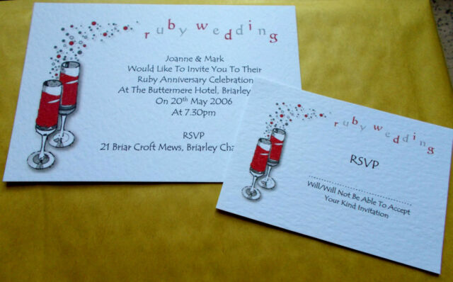 5 Personalised Ruby Wedding Anniversary Invitations Rsvp Cards And Envelopes