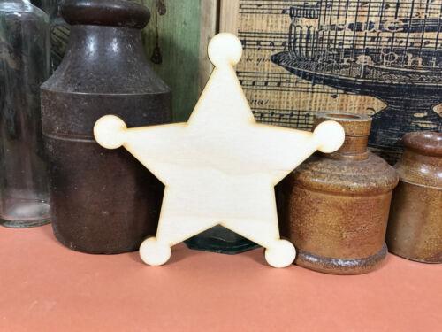 SHERIFF STAR SHAPES WOODEN Multiple Sizes Wood Shape Badge Cowboy 2.5cm to 25cm