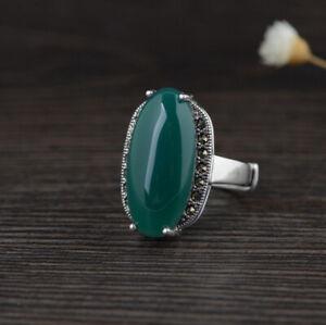 I05-Ring-ovaler-gruener-Achat-und-Markasit-Sterling-Silber-925-groessenverstellbar
