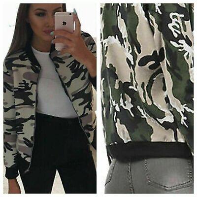 Womens Ladies Celeb inspired  Army Camouflage Print Biker Bomber  Jacket Blazer