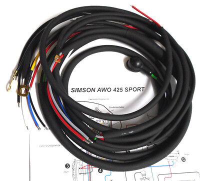 Simson AWO Sport 425 S Kabelbaum mit Bremslicht Schaltplan Kabel Kabelsatz Neu