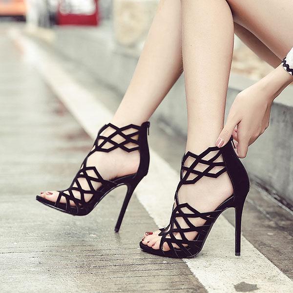 Sandales Bottines Été Talons Aiguilles 11 cm Élégant noir Cuir Synthetique Cw941