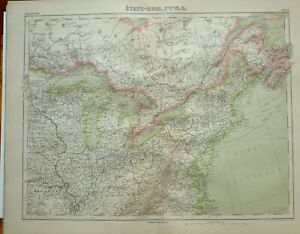 Details about 1923 MAP ~ NORTH EASTERN UNITED STATES NEW YORK OHIO NEW  JERSEY ILLINOIS INDIANA