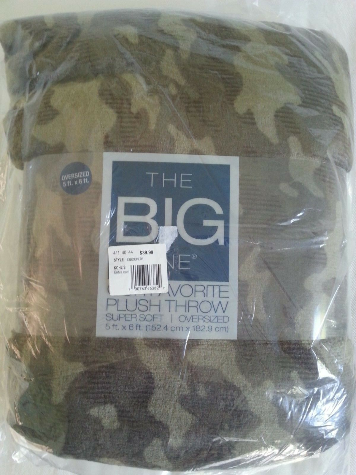 The Big One Supersoft Plush Throw Green Camo print 60 x 72
