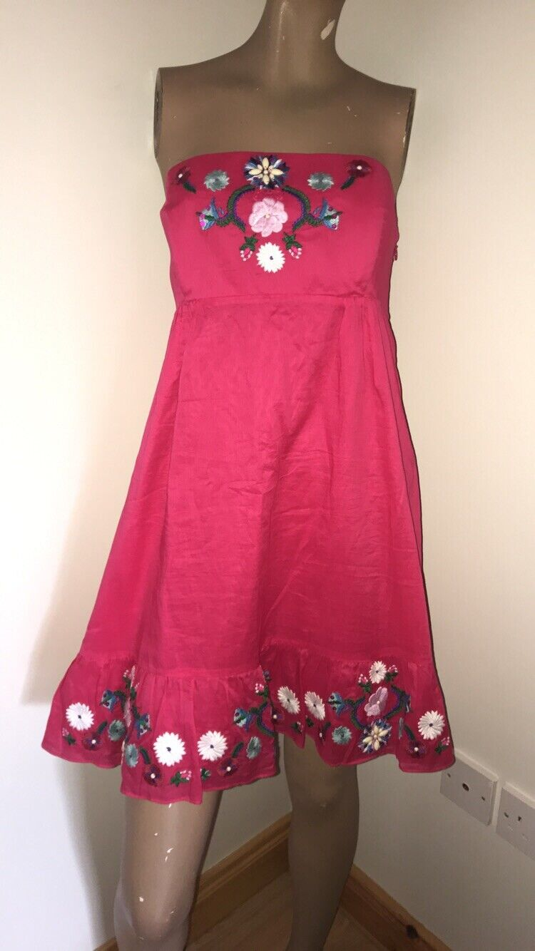 Oasis Pink Floral Strapless Dress Size 16 Boobtube Summer Ruffle Frill Beaded