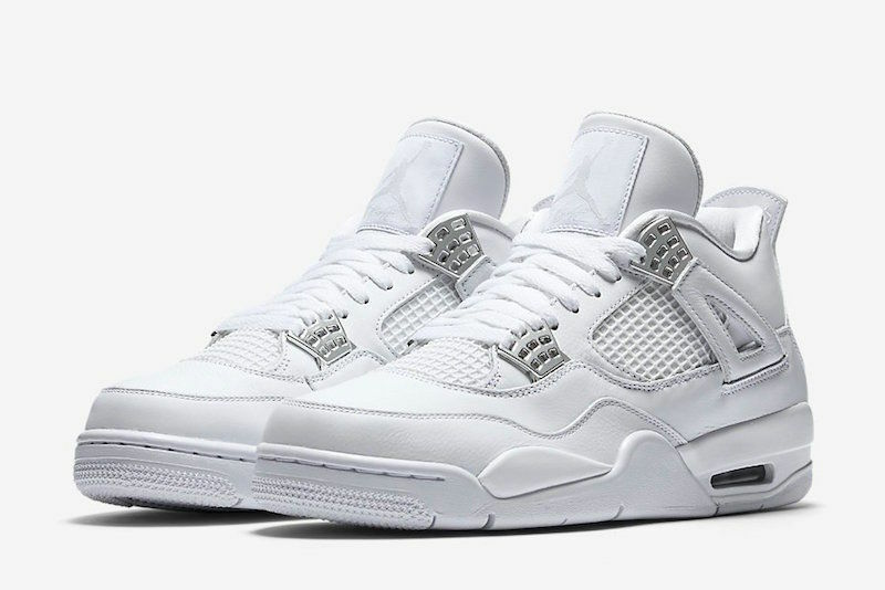 Nike air jordan 4 retrò puro soldi dimensioni 7 - bianco argento metallico 308497-100