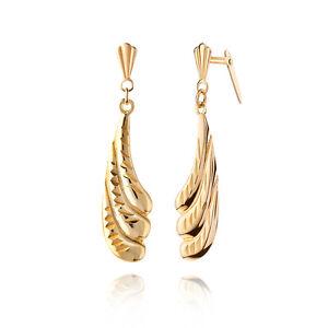 27e895e84 9ct yellow gold diamond cut curved drop Andralok earrings / Gift box ...
