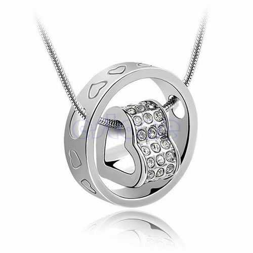 Heart Ring Crystal Rhinestone Necklace Pendant Love Xmas Gift For Wife Daughter