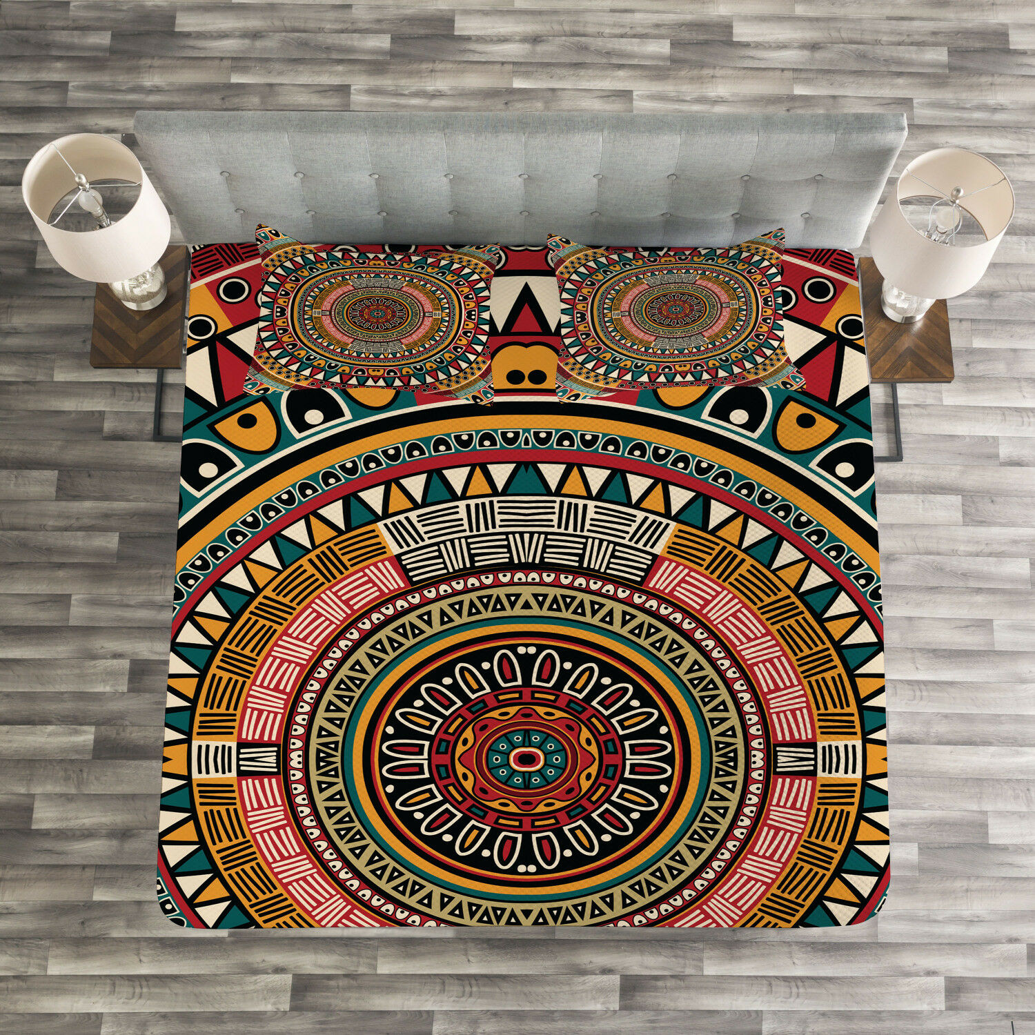 Tribal Quilted Bedspread & Pillow Shams Set, African Ethnic Farbe Art Print