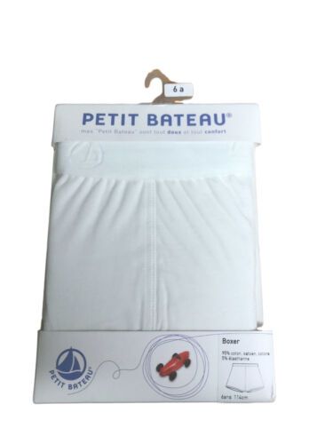 Petit Bateau Childrens Boys White Cotton Designer Boxer Shorts 6-10 Years