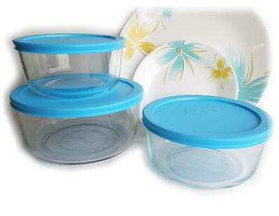 PYREX 4 or 7 Cup ROUND Storage Dish & Hawaiian TURQUOISE Sky AQUA Blue Covers