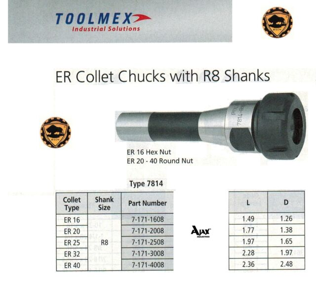 3901-5064 PRO-SERIES R8 ER-25 DRAWBAR END COLLET CHUCK WITH SPANNER NUT