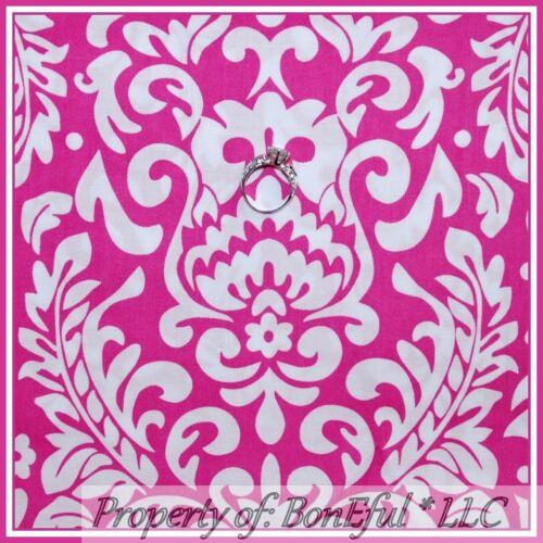 BonEful Fabric FQ Cotton Pink White Bright Flower Damask Dot Swirl Breast Cancer