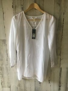 NWT-158-Eileen-Fisher-Organic-Cotton-Filcoupe-White-Tunic-V-Neck-XS