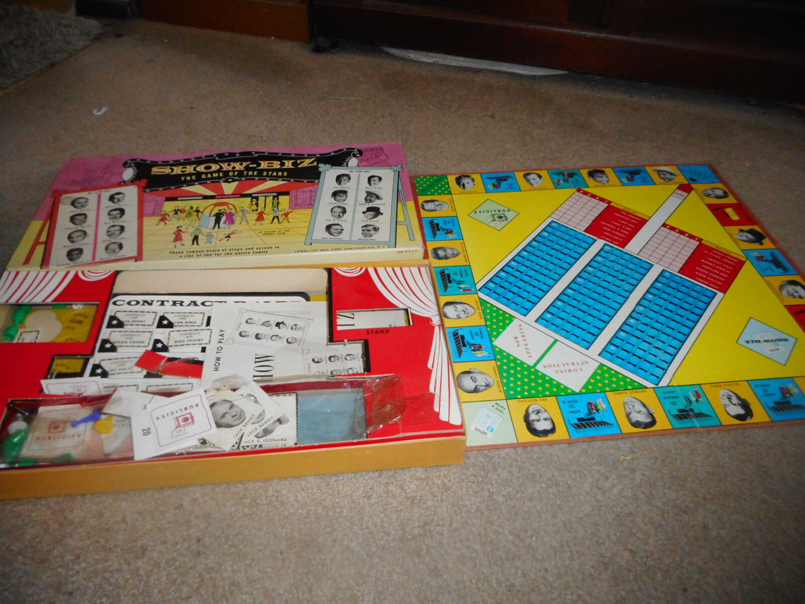 Vintage Années 1950 Lowell show-biz Stars Board Game Crosby Davis Jr. Berle Benny s22