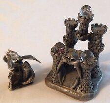 ✿ Tudor Mint Myth Magic Pewter The Dragon & Gateway Castle Tower + Crystals Set