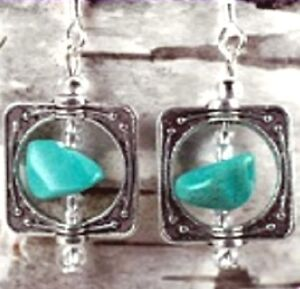 EXQUISITE-TURQUOISE-SPINNING-STONE-PEWTER-EARRINGS-1-1-2-INCHES