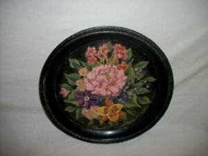 Vintage-Hand-Painted-Floral-Tole-Tray-on-Silver-Plated-Tray-Unique-Chic-Shabby
