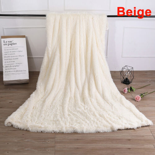 Winter Soft Shaggy Blanket Ultra Plush Quilt Warm Comfy Thicken Throw Bedding RF