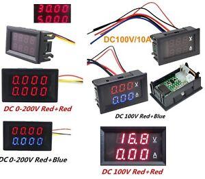 DC-0-200V-100V-10A-3-4-Bit-Voltmeter-Ammeter-Red-Red-Red-Blue-LED-Amp-Wires