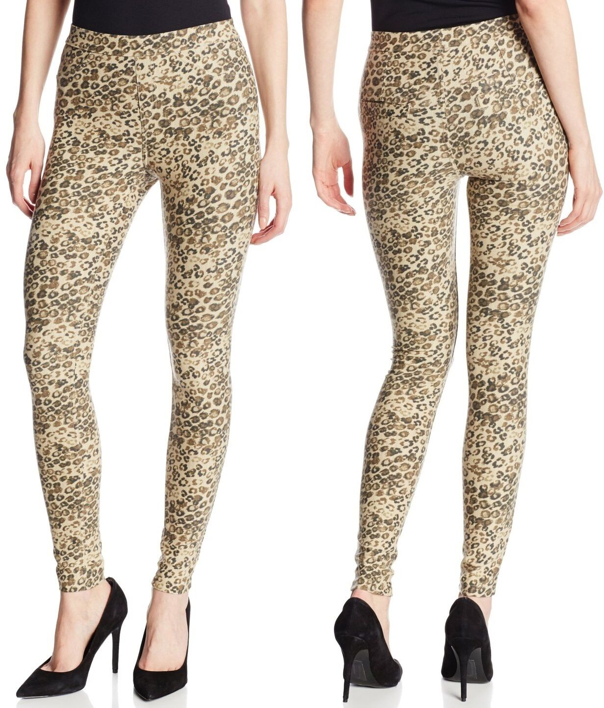 MSRP $44 HUE U14277 Chinos Beige-Multi Leopard Soft Stretch Twill Leggings
